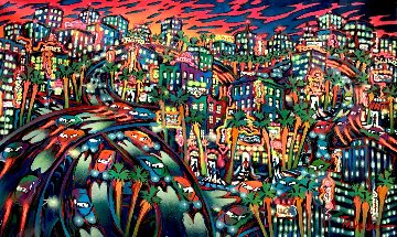 City in Motion 1997 39x61 New York Original Painting - James Talmadge