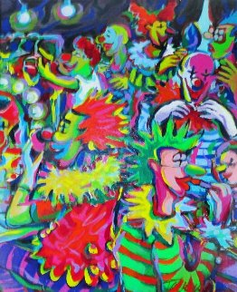Life in a Clown Tent 31x27 Original Painting - James Talmadge
