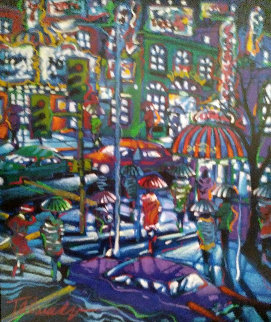 City Exploring And Rainy Night, Set of 2 Paintings  1996 29x25 Original Painting - James Talmadge