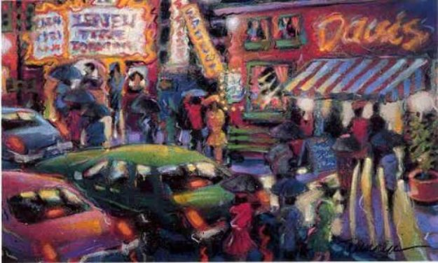 After the Theater 1992 26x38 Works on Paper (not prints) by James Talmadge