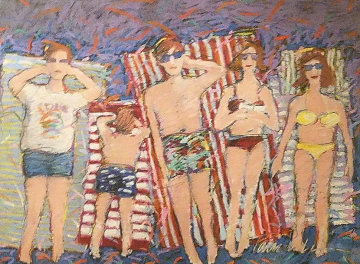 At the Beach 1995 31x37 Original Painting - James Talmadge
