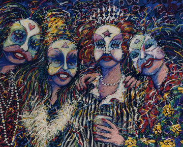 Mardi Gras Revelers Pastel 1990 35x43 Works on Paper (not prints) - James Talmadge