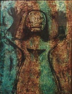 Mujer Con Brazos En Alto 1976 Mixographia Limited Edition Print by Rufino Tamayo