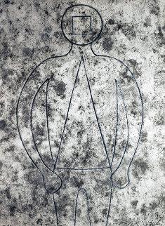 Figura De Hombre En Azul Con Fondo Gris 1979 Limited Edition Print - Rufino Tamayo