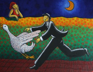 Golden Goose 2007 40x48 Original Painting by Jacques Tange