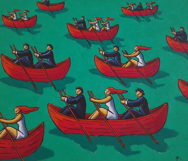 Corporate Regatta 2011 31x39 Original Painting by Jacques Tange