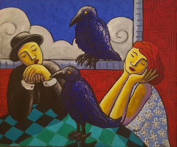 Living with Crows 2005 41x49 Huge Original Painting - Jacques Tange