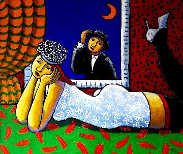 Half Moon 2006 41x49 Huge Original Painting - Jacques Tange