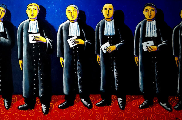 Line Up 2011 49x73 Original Painting by Jacques Tange