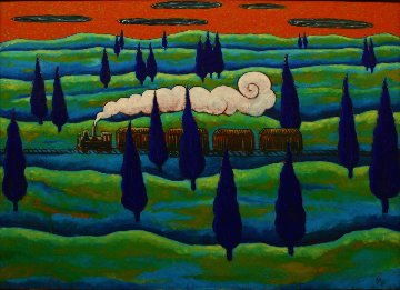 Black Train Running East 1997 41x56 Original Painting by Jacques Tange