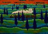 Black Train Running East 1997 41x48 Original Painting by Jacques Tange - 2