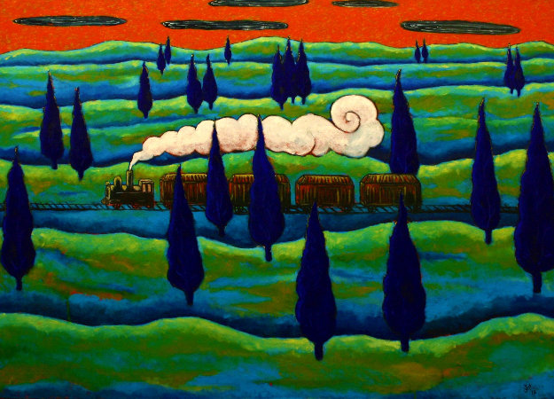 Black Train Running East 1997 41x48 Original Painting by Jacques Tange