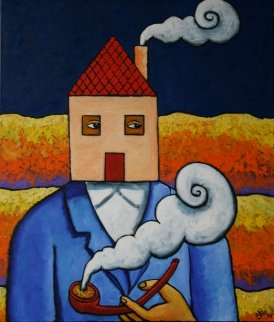 Traveling Home 2015 39x33 Original Painting by Jacques Tange