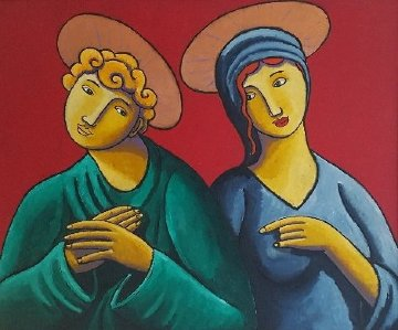 Saints And Lovers 2009 39x47 Huge Original Painting - Jacques Tange