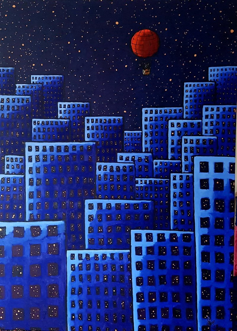 Red Balloon 2018 55x39 Super Huge Original Painting by Jacques Tange
