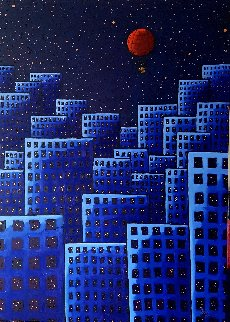 Red Balloon 2018 55x39 Super Huge Original Painting - Jacques Tange