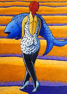 Desert Fish 2019 55x39 Super Huge Original Painting - Jacques Tange