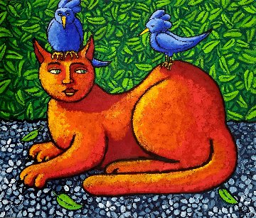 Cat in Paradise 2018 33x33 Original Painting by Jacques Tange