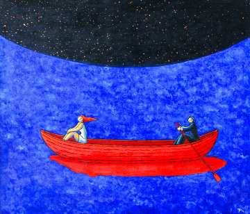 Nightfall 2014 57x49 Huge Original Painting - Jacques Tange