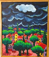 Village With Storm 2015 48x40 Huge Original Painting by Jacques Tange - 1