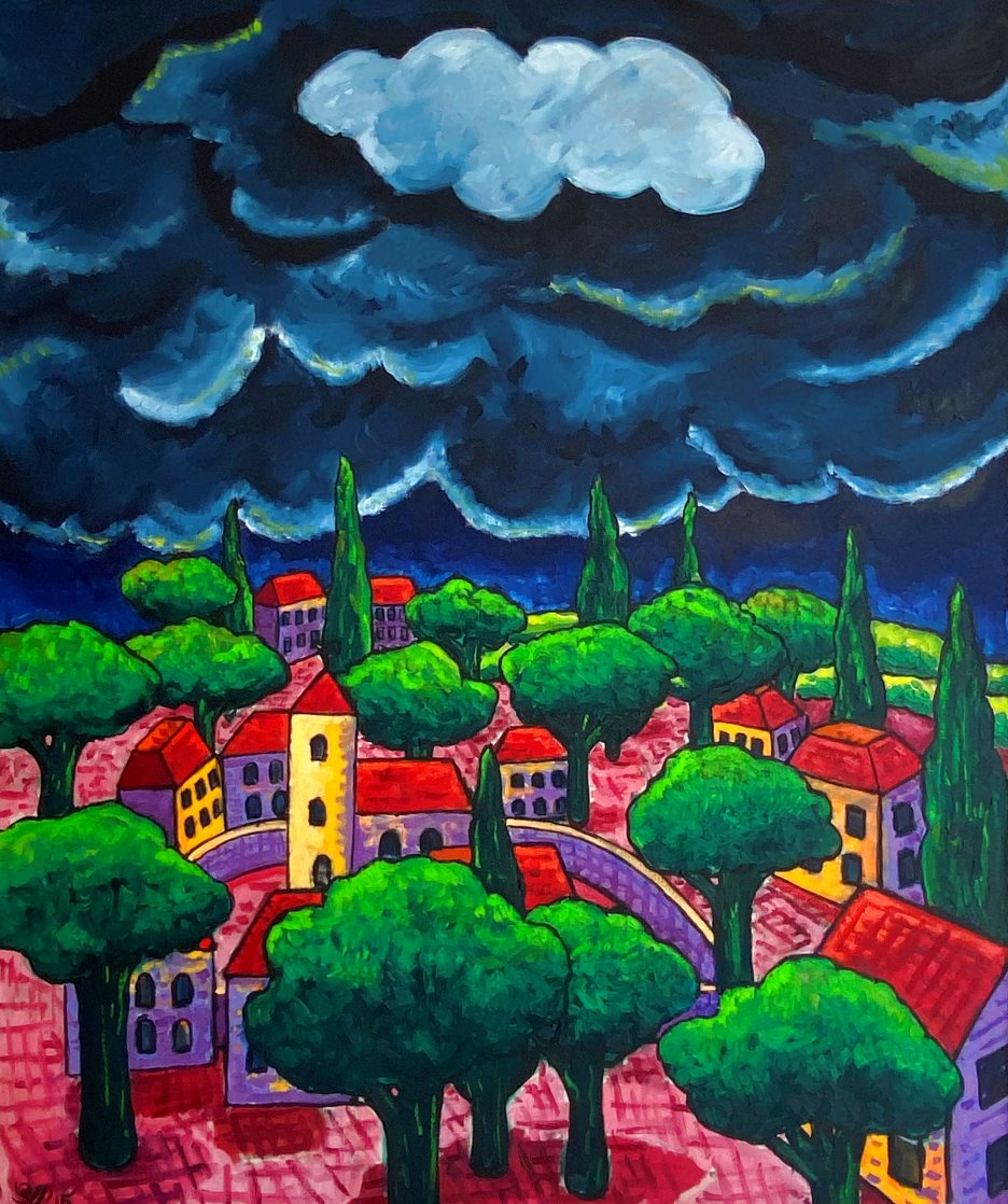 Village With Storm 2015 48x40 Huge Original Painting by Jacques Tange
