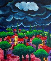 Village With Storm 2015 48x40 Huge Original Painting by Jacques Tange - 0