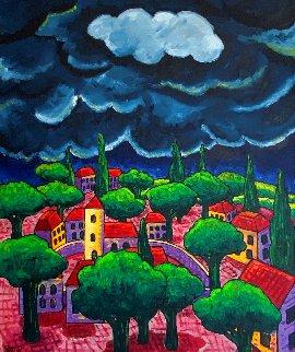 Village With Storm 2015 48x40 Huge Original Painting - Jacques Tange