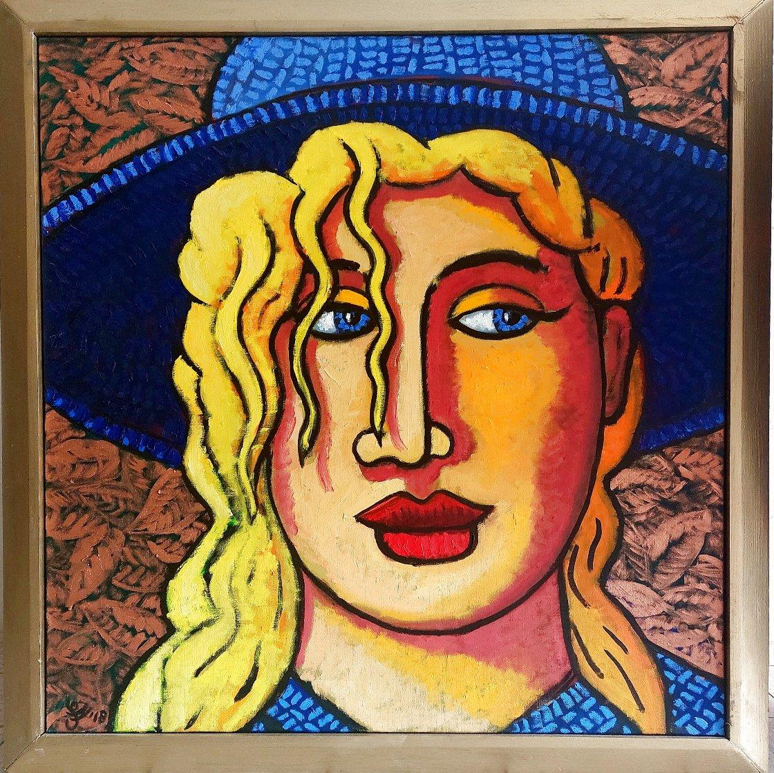 Blond 'N Blue Original 2018 35x33 Original Painting by Jacques Tange