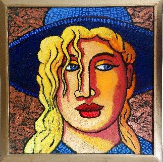 Blond 'N Blue Original 2018 35x33 Original Painting - Jacques Tange