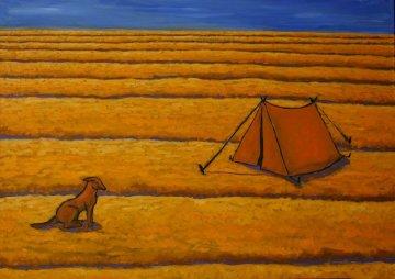 Desert Dwelling 2014 39x56 Huge Original Painting - Jacques Tange
