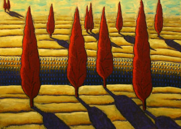 Occupied Earth 1997 39x55 Huge Original Painting - Jacques Tange