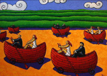 Life Boats 2013 38x55 Original Painting - Jacques Tange