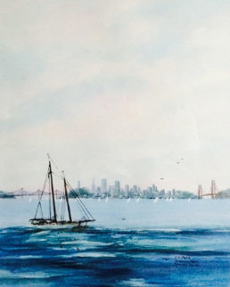 San Francisco Skyline Watercolor 26x22 Watercolor - Rosemary Tapia