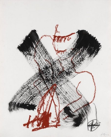 X  2006 35x27 Original Painting by Antoni Tapies