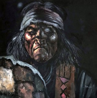 American Indian  1979 43x43 Super Huge Original Painting - Jorge  Tarallo Braun
