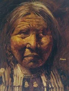 American Indian 1970 45x33 Super Huge Original Painting - Jorge  Tarallo Braun