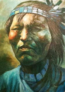 Native American Man in Blue 44x32 Huge Original Painting - Jorge  Tarallo Braun