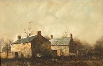 Untitled Oil on Canvas 1970 32x44 Original Painting - Jorge  Tarallo Braun