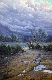 Cowboy in the Valley 1982 36x24 Original Painting - Jorge  Tarallo Braun