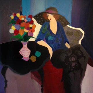Seated Woman 1995 64x64 Super Huge Original Painting - Itzchak Tarkay