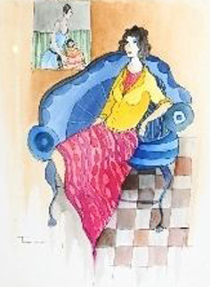 Untitled Watercolor 29x25 Watercolor by Itzchak Tarkay