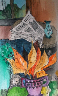 News And Tea Watercolor 2008 27x35 Watercolor - Itzchak Tarkay