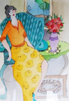 Relaxing Morning  Watercolor 2005 25x29 Watercolor by Itzchak Tarkay