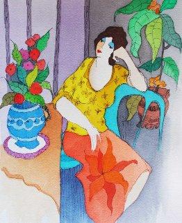 Reflecting II Watercolor 2006 24x27 Watercolor by Itzchak Tarkay