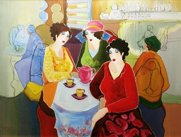 Tea Time 30x40 Original Painting - Itzchak Tarkay