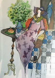 Interior With Tarkay Limited Edition Print by Itzchak Tarkay