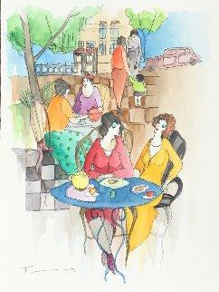 Greetings Watercolor 2009 16x12 Watercolor by Itzchak Tarkay