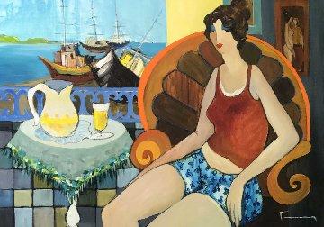 Summer Fun 2005 46x37 Huge Original Painting - Itzchak Tarkay
