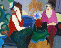 Ladies Lounging 1996 46x37 Original Painting - Itzchak Tarkay