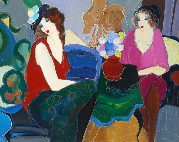 Ladies Lounging 1996 46x37 Original Painting by Itzchak Tarkay